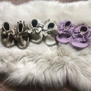 3 pairs soft soled infant leather moccs